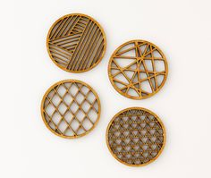 Geometrical Bamboo Laser-Cut Coasters (Set of 4) (30.00 USD) by lightpaper