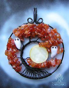 Halloween gruselige Geist Karneol Lebensbaum von RachaelsWireGarden