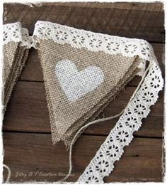 burlap and lace wedding decorations   ... off-white crochet lace and painted off-white hearts on burlap/hessian