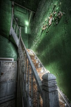 Lovely staircase in an abandoned home. Love the green peeling wall. I feel like they are stairs to Emerald City. Old Abandoned Buildings, Abandoned Property, Abandoned Mansions, Old Buildings, Abandoned Places, Abandoned Castles, Photo Post Mortem, Famous Castles, Stairway To Heaven