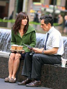 COFFEE KLATCH photo   Ben Stiller, Kristen Wiig - taking a break while filming re-shoots for new movie The Secret Life of Walter Mitty