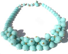 Light Blue Necklace with Chunky Cha-Cha Style by RibbonsEdge #GotVintage  #Vintage  #Jewelry
