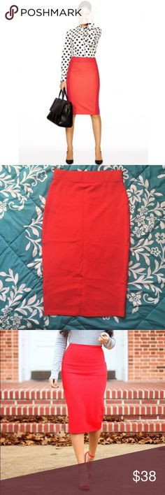 NWOT Blood Orange Midi Pencil Skirt Fun and playful color. Can be worn high waisted. Structured and curvy. Will fit a M as well for a tighter fit. Can be dress up (with heel) or down (with sneakers). This color looks so good with denim or chambray. See last photo for idea. Never worn. NWOT. iris Skirts Midi