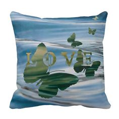 #Love, Water and Butterflies Throw Pillow