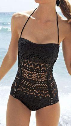 Black Lace Halter Swimsuit - Has Full Lace Detailing