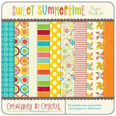 """sweet sumertime"" scrapbooking free- paper, basic paper, label, words, elements"