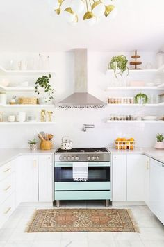 8 Ideal Tips: Old Kitchen Remodel Small kitchen remodel with island l shape.Old Kitchen Remodel How To Paint. Narrow Kitchen, Farmhouse Kitchen Cabinets, Old Kitchen, Rustic Kitchen, Vintage Kitchen, Kitchen Decor, Kitchen Storage, Kitchen Shelves, Kitchen Ideas