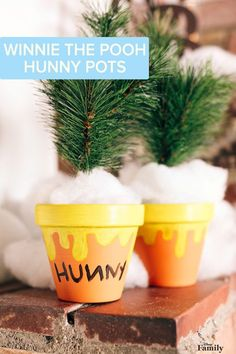 """A Pooh Bear loves his """"hunny"""" pot. Now you can make your own DIY version with flower pots and paint. Easy craft instructions for these Winnie the Pooh Hunny Pots are over at Disney Family.:"""
