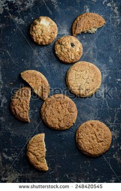 Top view of traditional cookies, over grunge plate