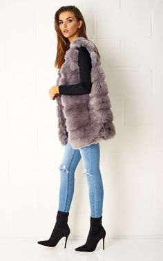 Karleigh Realistic Look Faux Fur Gilet In Grey by Frontrow Limited