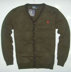 Polo Ralph Lauren Mens Cardigan Sweater Army Green
