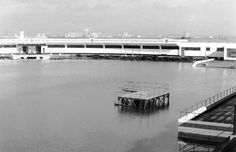 Baths at New Brighton in 1990 after the storm - flooded as high as the diving board