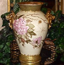 Huge Rare Limoges Vase Lion Handles Spider Webs and Pink Roses Outlined in Gold