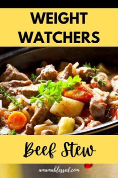 If you're looking for easy WW recipes, this Weight Watchers Slow Cooker Beef Stew is for you! This easy dinner or lunch recipe is with points, for WW green plan, WW purple plan, and WW blue plan. Throw it all in the slow cooker or Crock Pot and forget it. Easy dinners are just around the corner with A Mama Blessed! #ww #weightwatchers #weightwatchersrecipes #wwrecipes