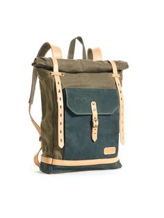 Olive green waxed canvas school backpack. Waxed by InnesBags
