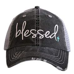 3fa23749 Katydid Blessed Hat designed by Katydid trucker caps are embroidered and  have curved bill distressed cap gives it a worn look adjustable tab with  mesh back ...