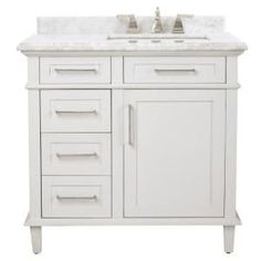 Home Decorators Collection Sonoma 36 in. Vanity in White with Marble Vanity Top in Grey/White with White Basin 8105100410 at The Home Depot - Mobile