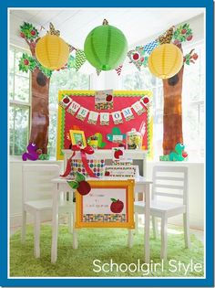 I'm not usually one for primary colors but I adore EVERYTHING about this primary apple theme classroom from Schoolgirl Style
