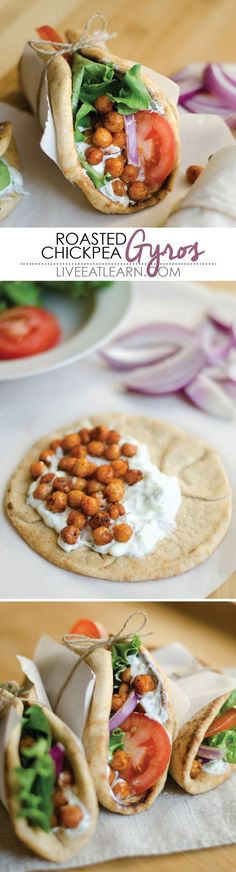 Hearty, vegetarian (with vegan options), and comes together in less than 30 minutes // Live Eat LearnRoasted chickpea gyros! Hearty, vegetarian (with vegan options), and comes together in less than 30 minutes // Live Eat Learn Veggie Recipes, Whole Food Recipes, Cooking Recipes, Recipes Dinner, Veggie Dinners, Dinner Menu, Easy Cooking, Dinner Ideas, Cooking Ribs