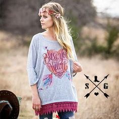 Bless Your Heart on Grey Tunic with Maroon Trim