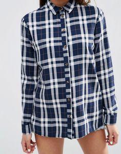 Image 3 ofASOS Boyfriend Check Shirt in Navy Check