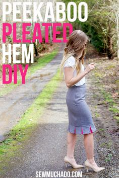 Diy Sewing Projects DIY Pleated Hem Tutorial - Add a pop of color to your pencil skirts! - Add a pop of color to your skirt hem with this DIY pleated hem tutorial! Perfect to add length to a skirt or just add fun details to a skirt! Diy Sewing Projects, Sewing Projects For Beginners, Sewing Hacks, Sewing Tutorials, Sewing Tips, Dress Tutorials, Sewing Patterns Free, Free Sewing, Clothing Patterns