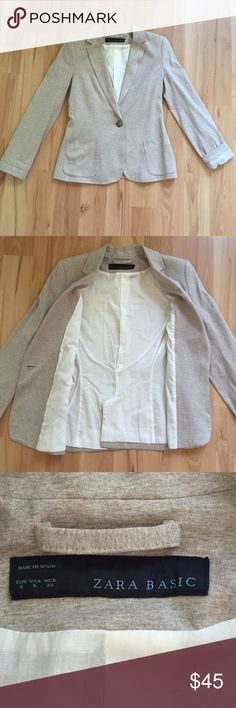 Zara Basic Blazer NWOT Cream colored basic blazer. Jersey white lining. Two front pockets and one button closure. Size S. Zara Jackets & Coats Blazers
