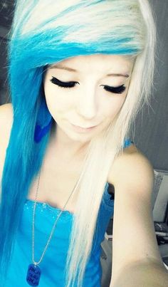 Blonde and blue hair; I really want this haircut and I want it colored like this with splat hair coloring dye;