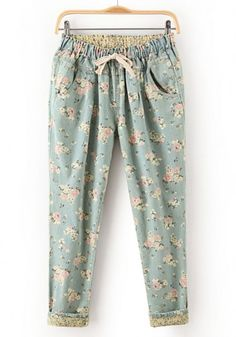 Blue Floral Drawstring Waist Long Denim Jeans
