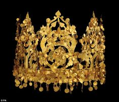 Stunning: This pricless gold crown dates from the 1st century BC and was discovered in an elite nomadic cemetery in Afghanistan by Soviet ar...