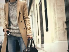 winter layers - camel coat, sweater