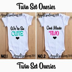 Twin Set Onesies! Boys and Girls! Babyshower Gift!