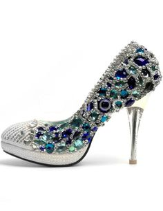 Silver Mixed Leather Blue Crystal Decoration Shoes - Milanoo.com