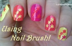 Nail art brush ideas: Floral #nailart in pink, orange and yellow - For more easy #naildesigns please visit: https://www.youtube.com/user/LifeWorldWomen