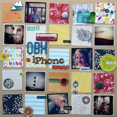 Instagram scrapbook layouts - by Corrie Jones using products from American Crafts.