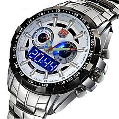 Buy Mens Watches Top Brand Luxury TVG Dual Display LED High Quality Wrist Watch Man Stainless steel Waterproof Masculino at Wish - Shopping Made Fun Cheap Watches, Cool Watches, Watches For Men, Men's Watches, Best Affordable Watches, Digital Sports Watch, Waterproof Sports Watch, Watch Deals, Led Watch
