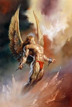 """Angel's Freedom"" Fantasy art by Julie Bell & Boris Vallejo. Boris Vallejo, Angels Among Us, Angels And Demons, Art Gay, Male Angels, Male Fallen Angel, Julie Bell, Bell Art, Tattoo Hals"