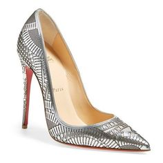 "Christian Louboutin 'Kristali' Laser Cut Pointy Toe Pump, 4 1/2"" heel ($1,195) ❤ liked on Polyvore featuring shoes, pumps, heels, chaussures, christian louboutin, silver leather, red pointed-toe pumps, red stiletto pumps, red sole shoes and red high heel pumps"