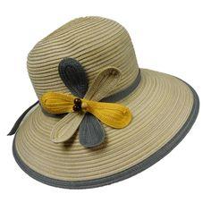 Big Brim Sun Hat with Flower Accent