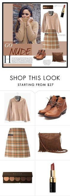 """""""GO NUDE . Different shades of nude"""" by salmahfirdaus on Polyvore featuring Madewell, Rupert Sanderson, Tory Burch, T-shirt & Jeans, Becca, Bobbi Brown Cosmetics, women's clothing, women's fashion, women and female"""