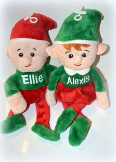 Its beginning to look like Christmas! Enjoy these personalized plush elves as a perfect addition to your Christmas traditions. They make great stocking stuffers, tree ornaments, or fun novelty items for the kids. The both boy and girl elves are about 9 inches tall.  I am offering them at $5 each or $4 each for 2+ elves.  The name/monogram is applied by permanent professional grade heat press.