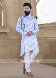 Corn Flower Blue Pathani Suit Blue Fabric, Satin Fabric, Linen Fabric, Maroon Color, Orange Color, Cotton Silk, Cotton Fabric, Engagement Dress For Men, Pathani Kurta