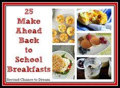 Make ahead breakfast ideas for back to school.