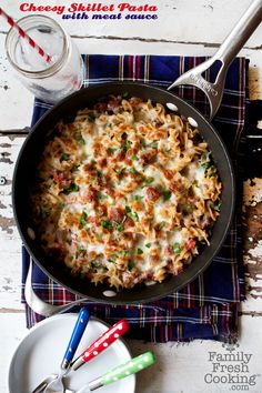 Gluten free Cheesy Skillet Pasta with Meat Sauce {Picky Palate Cookbook Review & Giveaway} on FamilyFreshCooking.com
