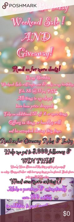 🎉Thank you Giveaway!!🎉 Please make sure u have read EVERYTHING above this description & that u have liked, shared & commented # of shares (be honest bc I will be able to see) to help me get to 3k followers! Make a purchase & up your entries/chances of winning. Names will be placed in an online randomizer. This giveaway will end on March 17, 2017 @ 11 pm PST. Winner TBA the following day on March 18, 2017. Winner will have 24 hours to respond, if no response then a new name will be drawn…