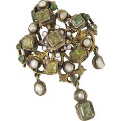 Austro-Hungarian Pin Pendant Silver Gilt Emeralds Pearls