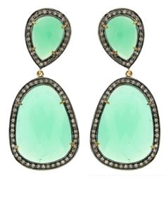 Jennifer Miller Jewelry 14K Yellow Gold and Oxidized Silver Pave Diamonds Chrysoprase Assymetric Teardrop Pierced Earrings #Style #Jewelry #Fashion #Trends