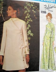 1960s FABIANI DRESS PATTERN MOCK DIAGONAL CLOSING  VOGUE COUTURIER 2265