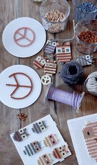 DIY hama beads - owls and peace signs for the christmas tree. Made by Betina Stampe, Bloomingville