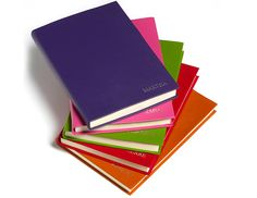 Personalised A5 Colour Notebooks, embossed with names. #personalised #notebook #colour #leather #corporate